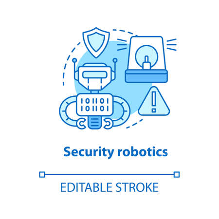 Security robotics blue concept icon. Safety technology idea thin line illustration. Types of robots, classification. Computer machine guarding. Vector isolated outline drawing. Editable stroke
