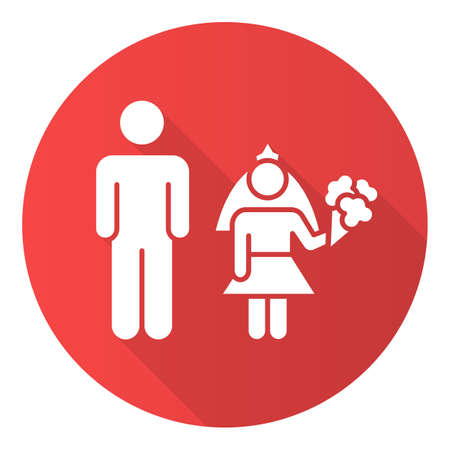 Child marriage red flat design long shadow glyph icon. Forcible wedlock. Compulsory marriage. Female, male rights. Relationship with no consent. Criminal offense. Vector silhouette illustration