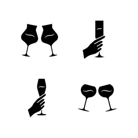 Wine service glyph icons set. Clinking glasses of wine. Hands holding alcohol beverages. Celebration, party. Wedding. Glassware, winery. Cheers. Silhouette symbols. Vector isolated illustration Vettoriali