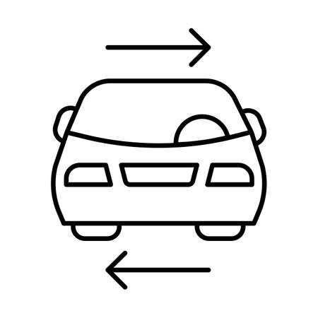Shared car service linear icon. Vehicle for rent. Carpooling. Ride sharing. Carshare. Lift sharing. Parking. Thin line illustration. Contour symbol. Vector isolated outline drawing. Editable stroke