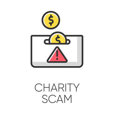 Charity scam color icon. Sham charity. Fake donation request. False fundraiser. Money theft. Online fraud. Cybercrime. Malicious practice. Fraudulent scheme. Isolated vector illustration
