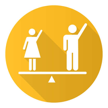 Gender equality yellow flat design long shadow glyph icon. Woman and man human right. Female and male balancing on scale. Justice, equality, empowerment. Social unity. Vector silhouette illustration  イラスト・ベクター素材