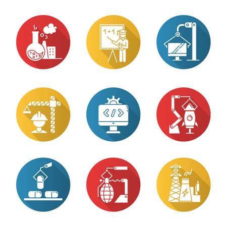 Types d'industries ensemble d'icônes de glyphe grandissime design plat. Secteurs chimique, éducation, informatique, construction, logiciel, aérospatial, pharmaceutique, armement, énergie. Illustration de silhouette vectorielle