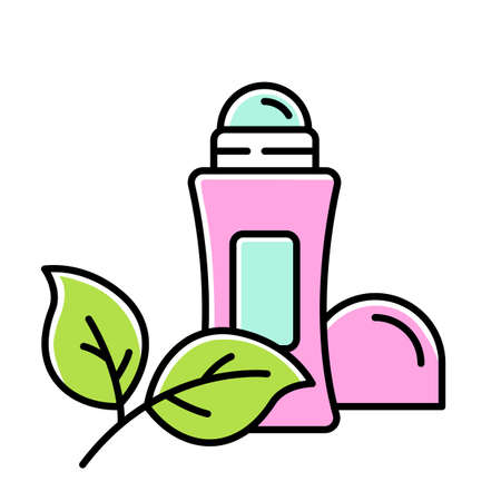 Natural roll-on deodorant color icon. Hypoallergenic antiperspirant. Personal care product. Hygiene. Alluminium-free. Protection from wetness, odor. Organic cosmetics. Isolated vector illustration Vektorové ilustrace