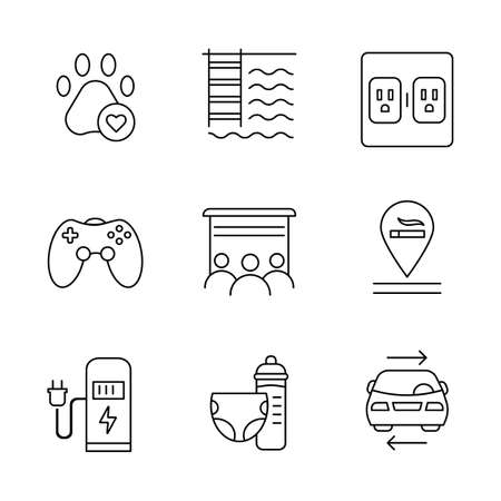 Apartment amenities linear icons set. Pets allowed, swimming pool, charging outlet, smoking allowed, nursery. Thin line contour symbols. Isolated vector outline illustrations. Editable stroke