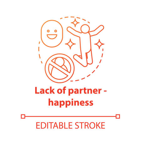 Lack of partner happiness concept icon. Joy of being alone. Happy divorce. Fun from breaking problem relationship idea thin line illustration. Vector isolated outline drawing. Editable stroke