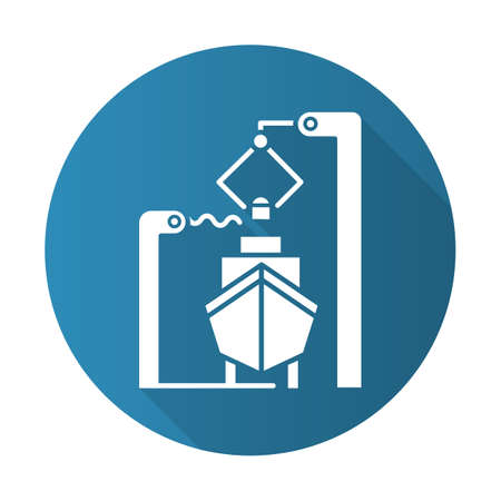 Shipbuilding industry blue flat design long shadow glyph icon. Boat mechanical maintenance. Ship fixing and repairing. Nautical vehicle technical construction. Vector silhouette illustration
