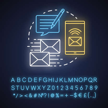 Messaging neon light concept icon. Mailing idea. Online communication with instant text messages. Internet chatting. Glowing sign with alphabet, numbers and symbols. Vector isolated illustration