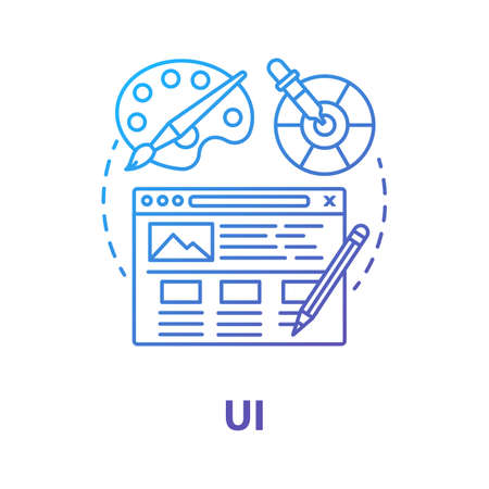 UI concept icon. Software creative interface development idea thin line illustration. Designing mobile app graphics for user experience. Website builder. Vector isolated outline drawing