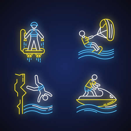 Waters ports neon light icons set. Fly boarding, kite boarding, cliff diving and jet-skiing. Extreme kinds of sport. Summer vacation adventure. Glowing signs. Vector isolated illustrations