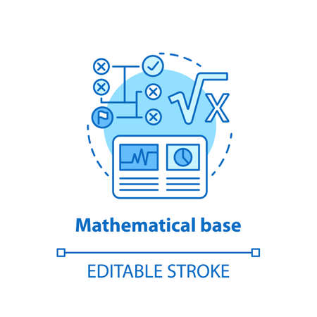 Mathematical base blue concept icon. Calculations idea thin line illustration. Combination of numbers and digits. Arithmetic and numerical system. Vector isolated outline drawing. Editable stroke Illustration