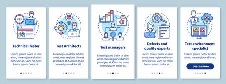 Software testing roles on boarding mobile app page screen with linear concepts. Quality control experts walk through steps graphic instructions.