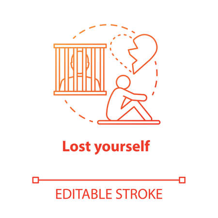 Lost yourself concept icon. Depression after breakup. Dependent relationship. Heartbroken. Feeling of hopelessness idea thin line illustration. Vector isolated outline drawing. Editable stroke Illustration