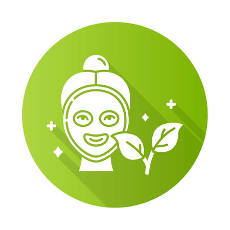 Face mask green flat design long shadow glyph icon. Skincare routine. Beauty product. Facial treatment. Moisturizing, hydrating. Cleansing, refining. Organic cosmetics. Vector silhouette illustration