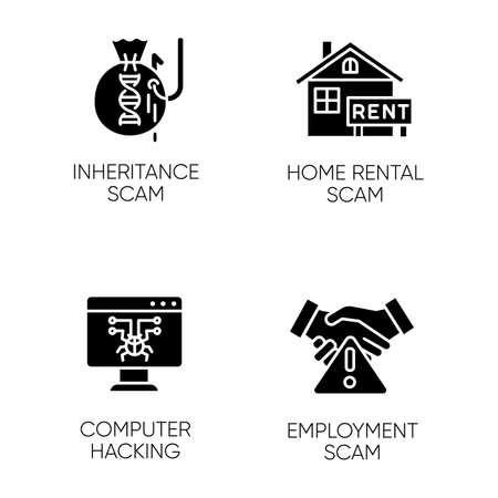 Scam types glyph icons set. Inheritance, home rental fraudulent scheme. Computer hacking. Employment scamming. Cybercrime. Financial scamming. Silhouette symbols. Vector isolated illustration Vektorgrafik