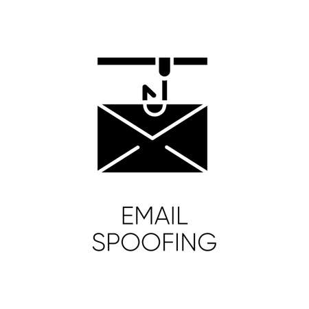 Email spoofing glyph icon. Illegitimate business. Forged sender. Online scam. Spamming. Fake email header. Mail phishing. Cybercrime. Silhouette symbol. Negative space. Vector isolated illustration