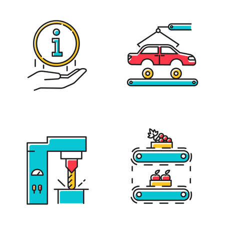 Industry types color icons set. Automotive engineering. Information sign. Steel industry. Fruit production. Car, automobile repair. Vehicle factory. Food supply. Isolated vector illustrations