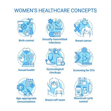 Conjunto de iconos de conceptos de salud de las mujeres. Ilustraciones de línea fina de idea de tratamiento médico femenino. Chequeos, exámenes de detección, exámenes. Menstruación, parto, ITS. Dibujos de contorno aislados vectoriales. Trazo editable Ilustración de vector