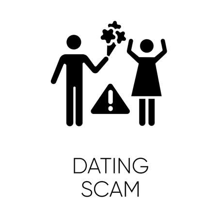 Dating scam glyph icon. Online romance fraud. Fake dating service. False romantic intentions, promises. Money request. Confidence trick. Silhouette symbol. Negative space. Vector isolated illustration