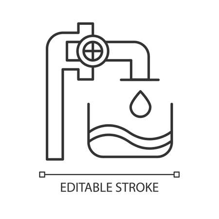 Water industry linear icon. Liquid in container. Pipes and valves. Water engineering. Beverage production. Thin line illustration. Contour symbol. Vector isolated outline drawing. Editable stroke