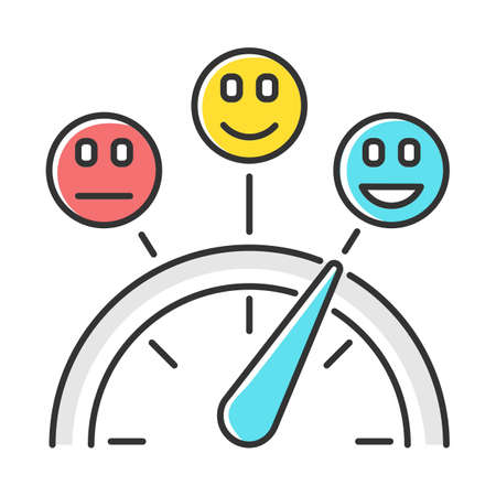 Satisfaction level color icon. Good, neutral and bad experience. Emotion meter. Positive and negative. Scale with emoticons. Score with arrow pointer. Quality gauge. Isolated vector illustration Reklamní fotografie - 134459494