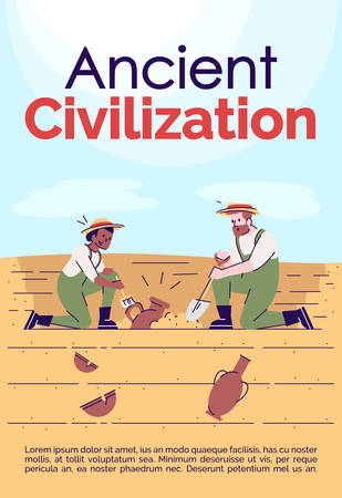 Ancient civilization brochure template. Flyer, booklet, leaflet concept with flat illustrations. Vector page cartoon layout for magazine. Archeology excavations advertising invitation with text space Illusztráció