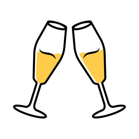 Two clinking glasses with white wine color icon. Champagne tulip flute. Glassfuls of alcohol beverage. Wine service. Celebration. Wedding. Cheers. Tasting, degustation. Isolated vector illustration