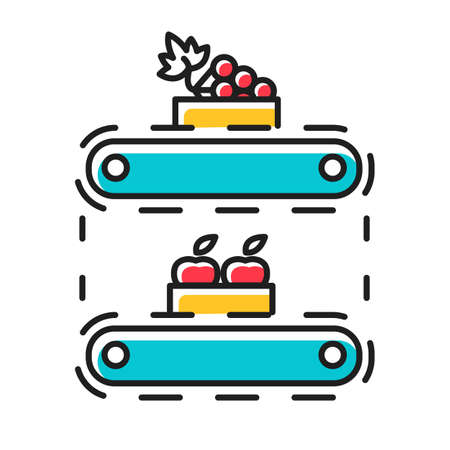 Fruit production color icon. Apples and grape in crates on conveyor belt. Organic food supply. Storage, stock, terminal. Professional automated factory equipment. Isolated vector illustration Ilustração