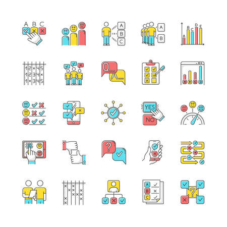 Survey color icons set. Question and answer. Social poll. Group survey. Interview. Positive and negative feedback. Choose multiple options. Statistics analysis. Yes, no. Isolated vector illustrations