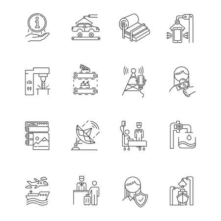 Industry types linear icons set. Media, broadcasting. Shipbuilding. Publishing. Healthcare. Hospitality industry. Thin line contour symbols. Isolated vector outline illustrations. Editable stroke