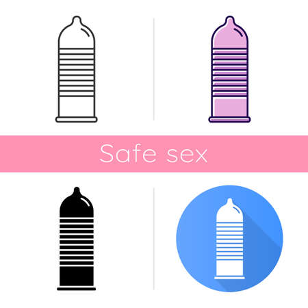 Ribbed condom icon. Female, male contraceptive for safe sex. Protected intercourse. Preservative. Pregnancy prevention. Flat design, linear and color styles. Isolated vector illustrations