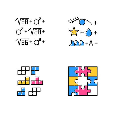 Puzzles and riddles color icons set. Rebus. Block puzzle, tile matching. Jigsaw. Logic games. Mental exercise. Challenge. Brain teaser. Solution finding. Isolated vector illustrations