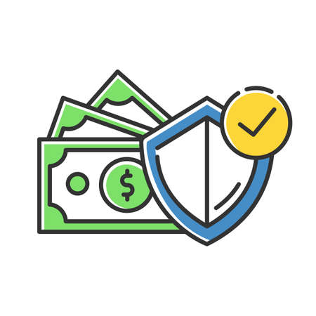 Credit insurance color icon. Money investment in selfcare. Paying for loan. Life, health insurance. Managing finances and personal budget account. Economy industry. Isolated vector illustration