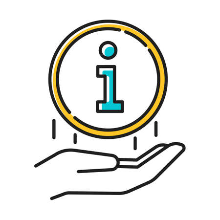 Information industry color icon. Communication and network. Hand with info round sign. Helpline, helpdesk. Media, news. Inform, search, help. Digital data. Isolated vector illustration