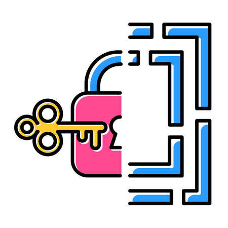 Riddle solution finding color icon. Maze, key-lock puzzle. Mental exercise. Logic game. Ingenuity, knowledge, intelligence test. Brain teaser. Problem solving. Isolated vector illustration