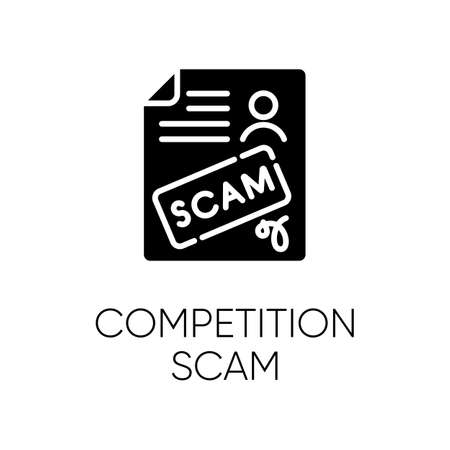 Competition scam glyph icon. Money deposit fraud. Fake prize scamming. Upfront payment. Financial scamming. Fraudulent scheme. Silhouette symbol. Negative space. Vector isolated illustration