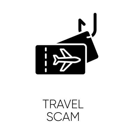 Travel scam glyph icon. Fake vacation ad. Unrealistic conditions. Free tickets trick. Cybercrime. Financial fraud. Fraudulent scheme. Silhouette symbol. Negative space. Vector isolated illustration