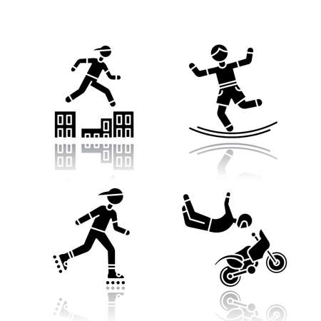 Extreme sports drop shadow black glyph icons set. Parkour, traversing obstacles. Slacklining, balance training. Inline skating. Motorcycle stunt riding. Motocross. Isolated vector illustrations