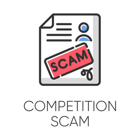 Competition scam color icon. Money deposit fraud. Fake prize scamming. Upfront payment. Financial scamming. Malicious practice. Fraudulent scheme. Isolated vector illustration