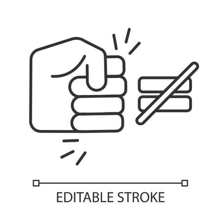 Fight ineaquality linear icon. Stop abuse. Fist punching sign. Discrimination, sexism. Human rights violation. Thin line illustration. Contour symbol. Vector isolated outline drawing. Editable stroke Çizim