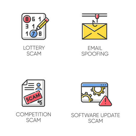 Scam types color icons set. Lottery, competition fraudulent scheme. Email spoofing. Software update trick. Malware. Cybercrime. Illegal money gain. Isolated vector illustrations Illustration