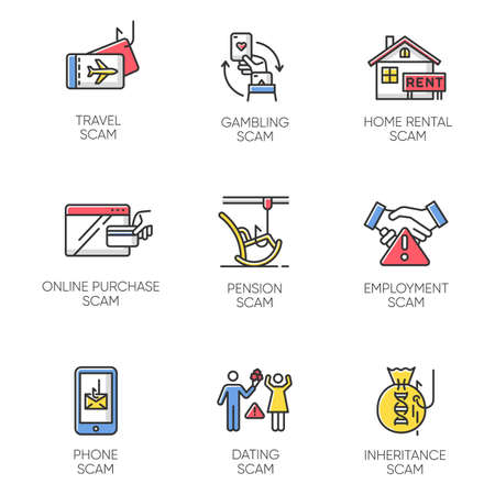 Scam types color icons set. Travel, gambling, dating scheme. Pension, inheritance, employment trick. Phone, online purchase, home rental scamming. Cybercrime. Isolated vector illustrations Illustration
