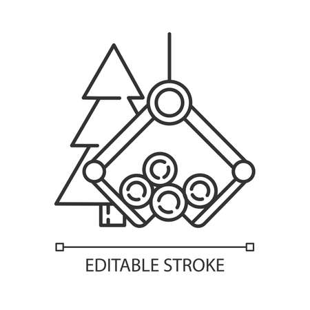 Timber industry linear icon. Logging sector. Wood production. Heavy lifting crane loading spruce logs. Thin line illustration. Contour symbol. Vector isolated outline drawing. Editable stroke Illusztráció