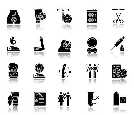 Safe sex drop shadow black glyph icons set. Condoms. Lubricant, spermicide. Sterilisation. Couple, partner. Sober sex with consent. Contraceptive patch, device, ring. Isolated vector illustrations