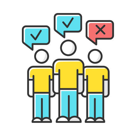 Mass survey color icon. Social opinion, public poll. People voting. Agree and disagree. Correct and incorrect. Approve and disapprove. Positive, negative feedback. Isolated vector illustration