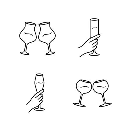 Wine service linear icons set. Clinking wine glasses. Hands holding alcohol beverages. Celebration. Glassware, winery. Thin line contour symbols. Isolated vector outline illustrations. Editable stroke
