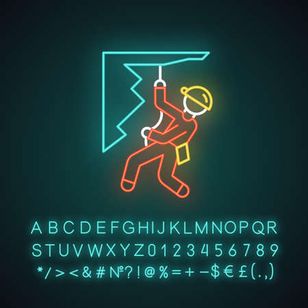 Mountain climbing neon light icon. Mountaineering. Abseiling, rappelling. Spelunking. Mountaineer sliding down rope. Glowing sign with alphabet, numbers and symbols. Vector isolated illustration  イラスト・ベクター素材