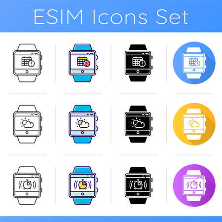 Fitness tracker functions icons set. Scheduling events, planer, weather forecast and stopwatch. Smartwatch capabilities. Linear, black and color styles. Isolated vector illustrations