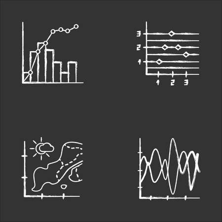 Chart and graph chalk icons set. Temperature map. Point and figure chart. Seismic activity. Mixed graph with histogram and linear elements. Vibration curve. Isolated vector chalkboard illustrations