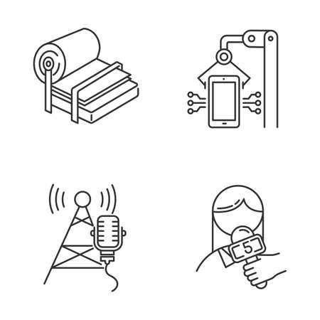 Industry types linear icons set. Pulp and paper production. Electronics facility. Broadcasting tower. News and media. Thin line contour symbols. Isolated vector outline illustrations. Editable stroke